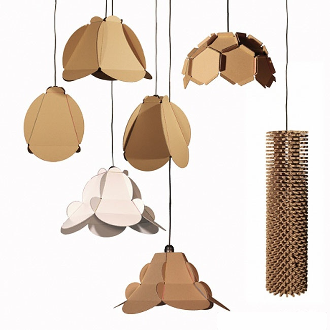 Lampes en carton recyclé