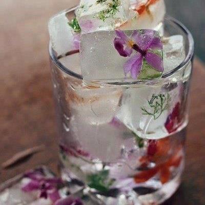 De beaux glaçons pour boire des fleurs !