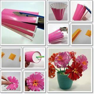 De jolies fleurs réalisées à partir de verres en plastique...
