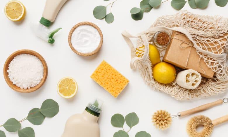 citron, bicarbonate de soude, vaporisateur, filet, éponge