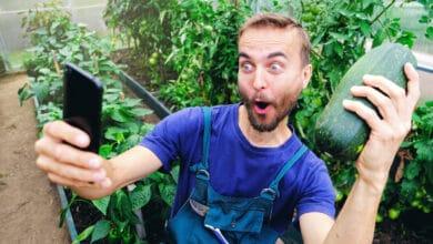 Jeune homme habillé en jardinier faisant un selfie avec une grosse courgette dans sa main