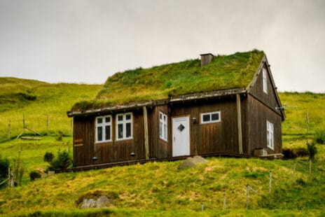 Maison avec toiture végétalisée