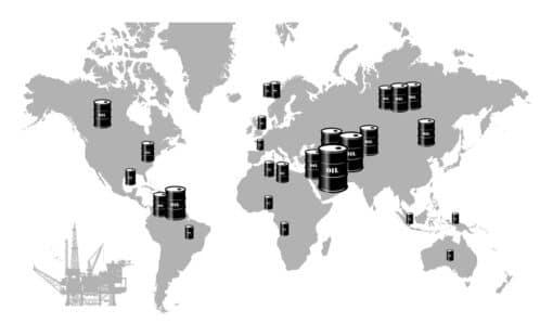 Mappemonde montrant les principaux gisements de pétrole symbolisés par des barils