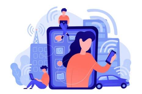 Dessin montrant les différentes sources d'ondes életromagnétiques : smartphone, ordinateur, tablette, voiture, antennes...
