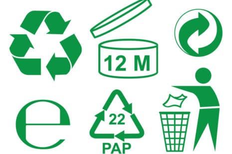 Ensemble de logos : triman, point vert, durée de validité, recyclable