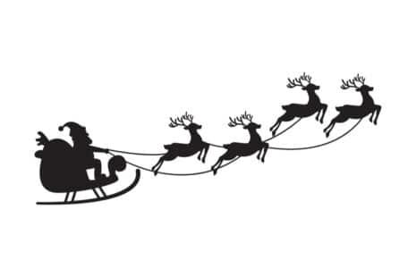 Le Père Noël sur son traineau tracté par quatre rennes. Dessin en noir et blanc