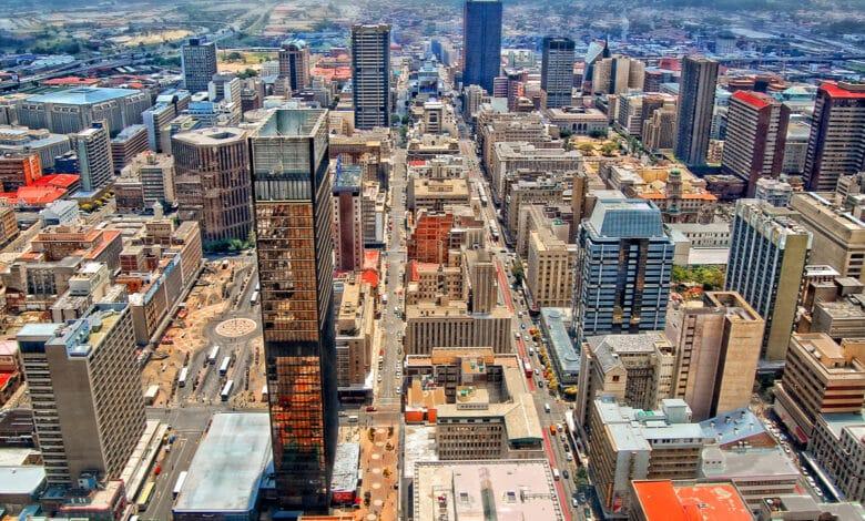 VUe aérienne d'une mégalopole, Johannesburg